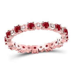 Round Ruby Diamond Eternity Stackable Band Ring 1.00 Cttw 10kt Rose Gold