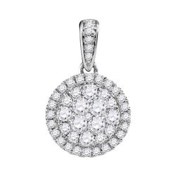 Diamond Concentric Circle Frame Cluster Pendant 1/2 Cttw 14kt White Gold