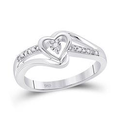 Diamond Heart Promise Bridal Ring .03 Cttw 10kt White Gold