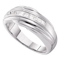 Mens Channel-set Diamond Single Row Wedding Band 1/2 Cttw 14kt White Gold