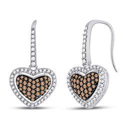 Brown Diamond Heart Dangle Earrings 5/8 Cttw 10kt White Gold
