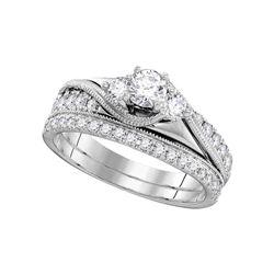 Diamond 3-Stone Bridal Wedding Engagement Ring Band Set 7/8 Cttw 14kt White Gold