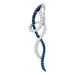 Round Blue Color Enhanced Coil Diamond Fashion Pendant 3/8 Cttw 10kt White Gold
