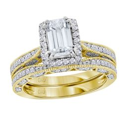 Emerald Diamond Bridal Wedding Engagement Ring Band Set 1-3/4 Cttw 14kt Yellow Gold