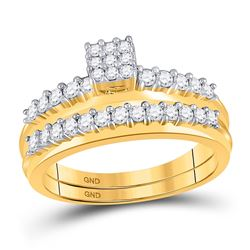 Diamond Bridal Wedding Engagement Ring Band Set 1/2 Cttw 14kt Yellow Gold