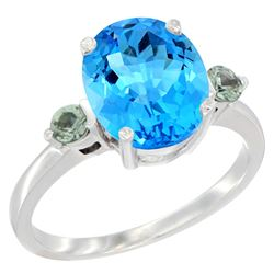 2.64 CTW Swiss Blue Topaz & Green Sapphire Ring 14K White Gold - REF-32F3N