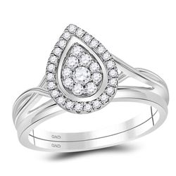 Diamond Teardrop Cluster Bridal Wedding Engagement Ring Band Set 1/3 Cttw 10kt White Gold