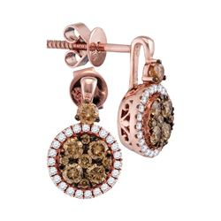 Round Brown Diamond Cluster Frame Earrings 7/8 Cttw 14kt Rose Gold