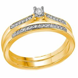 Diamond Bridal Wedding Engagement Ring Band Set 1/8 Cttw 10kt Yellow Gold