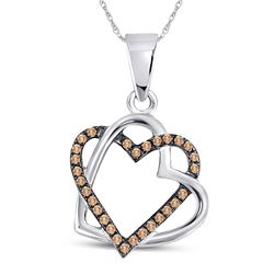 Round Brown Diamond Heart Pendant 1/4 Cttw 10kt White Gold