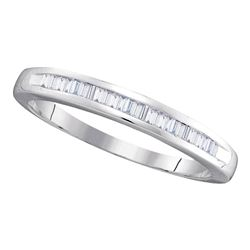 Baguette Diamond Wedding Anniversary Band 1/4 Cttw 10kt White Gold