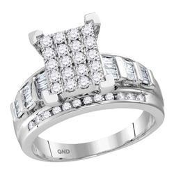 Diamond Cindys Dream Cluster Bridal Wedding Engagement Ring 7/8 Cttw  10kt White Gold