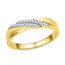 Diamond Double Row Crossover Band Ring 1/10 Cttw 10kt Yellow Gold