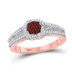 Round Red Color Enhanced Diamond Cluster Ring 1/4 Cttw 10kt Rose Gold
