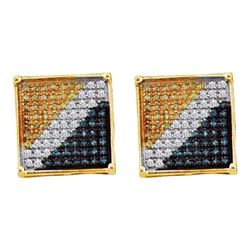 Mens Round Blue Yellow Color Enhanced Diamond Square Cluster Earrings 1/20 Cttw 10kt Yellow Gold