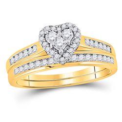 Diamond Heart Bridal Wedding Engagement Ring Band Set 1/2 Cttw 10kt Yellow Gold