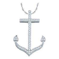 Diamond Anchor Nautical Ocean Pendant 1/6 Cttw 10kt White Gold
