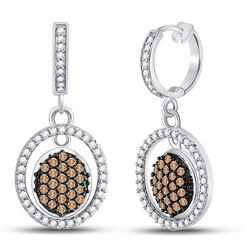 Round Brown Diamond Oval Frame Dangle Earrings 3/4 Cttw 10kt White Gold