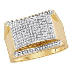 Mens Diamond Arched Rectangle Cluster Ring 1/2 Cttw 10kt Yellow Gold