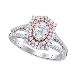 Round Pink Diamond Oval Cluster Ring 3/4 Cttw 14kt White Gold