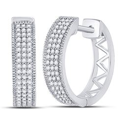 Diamond Triple Row Pave Hoop Earrings 1/3 Cttw 10kt White Gold