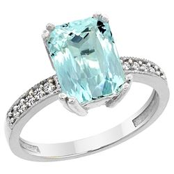 3.70 CTW Aquamarine & Diamond Ring 10K White Gold - REF-51W4F