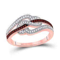 Round Red Color Enhanced Diamond Heart Ring 1/4 Cttw 10kt Rose Gold