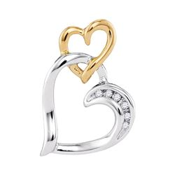 Diamond Heart Pendant .03 Cttw 10kt Two-tone White Yellow Gold