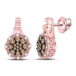 Round Brown Diamond Cluster Earrings 1/2 Cttw 14kt Rose Gold