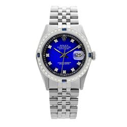 Rolex Pre-owned 36mm Mens Blue Vignette Stainless Steel - REF-580N4H
