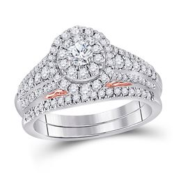 Diamond Bridal Wedding Engagement Ring Band Set 1.00 Cttw 14kt Two-tone Gold