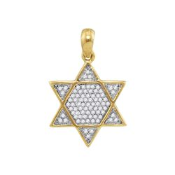 Mens Diamond 6-Point Star Magen David Charm Pendant 1/5 Cttw 10kt Yellow Gold
