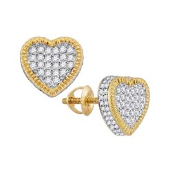Diamond Heart Fluted Cluster Stud Earrings 3/4 Cttw 10kt Yellow Gold