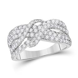 Diamond Crossover Band Ring 1-1/2 Cttw 14kt White Gold