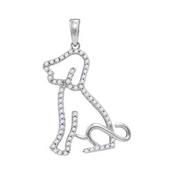 Diamond Animal Dog Puppy Pendant 1/5 Cttw 10kt White Gold