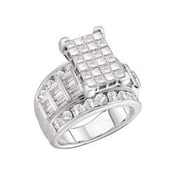 Diamond Cluster Bridal Wedding Engagement Ring 3.00 Cttw 14kt White Gold
