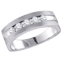 Mens Diamond Single Row 5-Stone Wedding Band Ring 1/2 Cttw 10kt White Gold