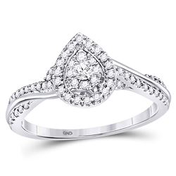Diamond Teardrop Cluster Bridal Wedding Engagement Ring 1/4 Cttw 14kt White Gold