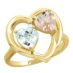 1.91 CTW Diamond, Aquamarine & Morganite Ring 14K Yellow Gold - REF-40F7N