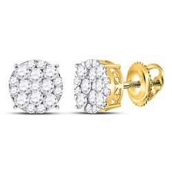 Diamond Circle Cluster Earrings 1.00 Cttw 14kt Yellow Gold