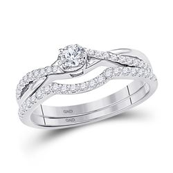 Diamond Bridal Wedding Engagement Ring Band Set 1/3 Cttw 10k White Gold