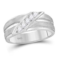 Mens Diamond Diagonal Row Ridged Matte Wedding Band Ring 1/4 Cttw 10kt White Gold