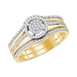 Diamond Cluster 3-Piece Bridal Wedding Engagement Ring Band Set 1/4 Cttw 10kt Yellow Gold