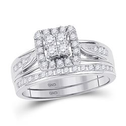 Diamond Square Cluster Bridal Wedding Engagement Ring Band Set 1-1/2 Cttw 10kt White Gold