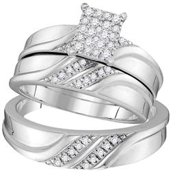 Diamond Cluster Matching Trio His & Hers Wedding Engagement Ring Band Set 1/3 Cttw 10k White Gold