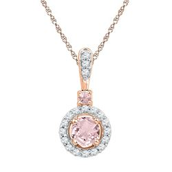 Round Lab-Created Morganite Solitaire Pendant 1/2 Cttw 10kt Rose Gold