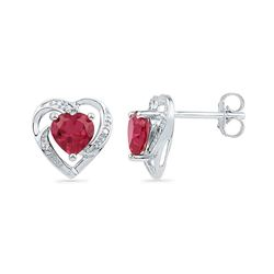 Round Lab-Created Ruby Heart Earrings 3/8 Cttw 10kt White Gold