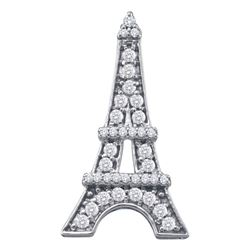 Diamond Eiffel Tower Fashion Pendant 1/3 Cttw 10kt White Gold