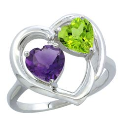 2.61 CTW Diamond, Amethyst & Peridot Ring 14K White Gold - REF-33R9H