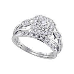Diamond Square Bridal Wedding Engagement Ring Band Set 1/3 Cttw 10kt White Gold